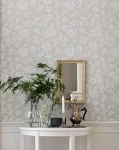 Papier peint Amitola Aspect impression à la main Mat Vrilles de fleur Beige gris clair Ivoire clair Gris blanc