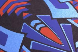 Papier peint Demetrius Mat Art Déco Éléments graphiques Noir Bleu Rouge orangé Bleu perle Cuivre nacré