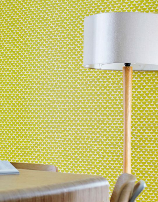 Geometric Wallpaper Wallpaper Darja yellow green Room View