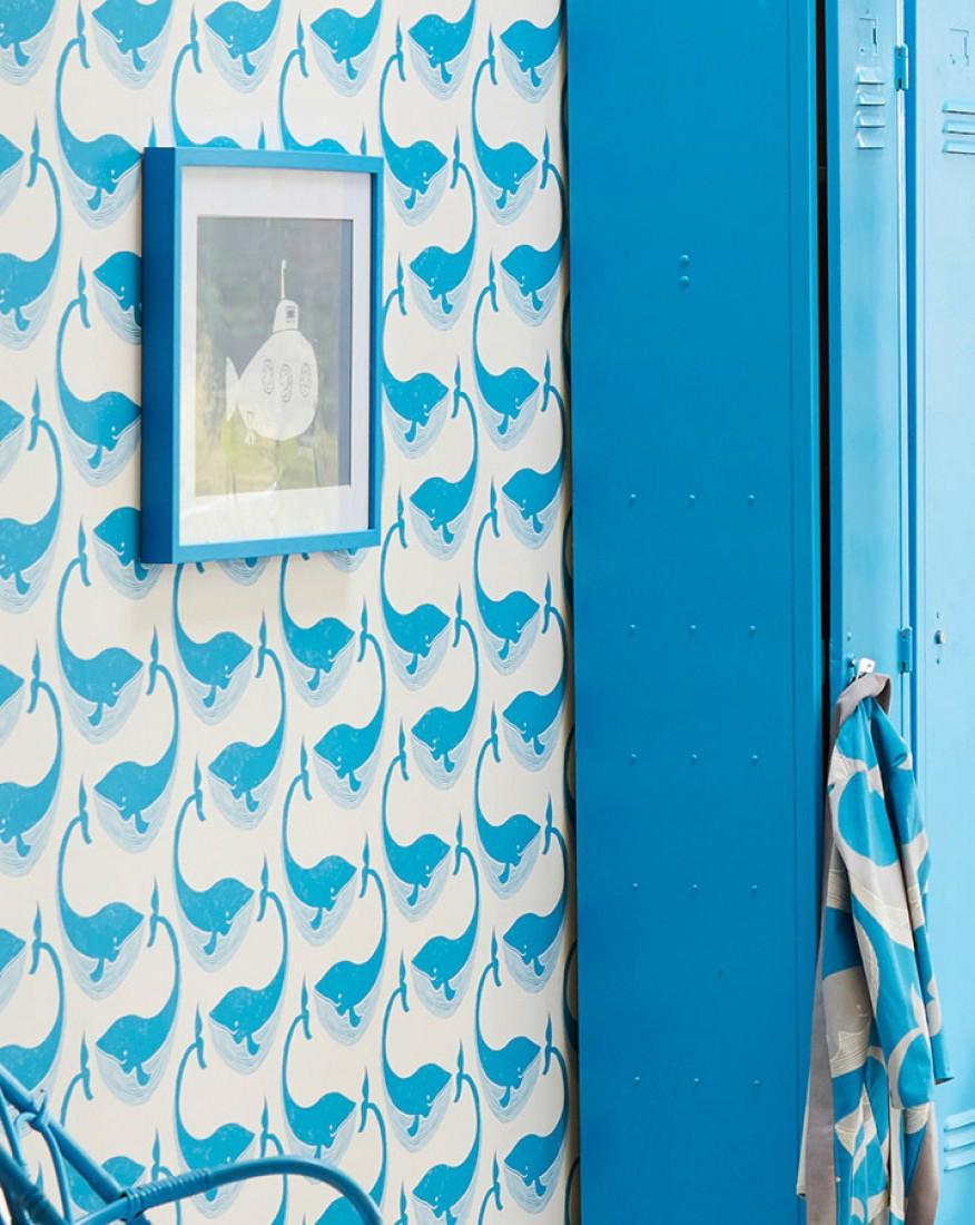 Papel pintado moby dick blanco crema azul capri - Papel pintado de los 70 ...