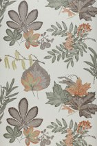 Wallpaper Samarina Matt Leaves Fruits Cream Dark green Fern green Grey brown Red orange