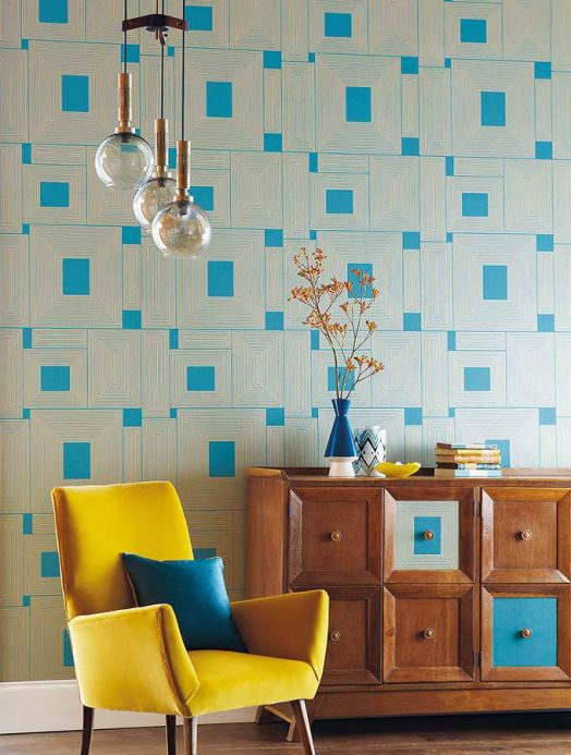 Archiv Wallpaper Oni turquoise blue Room View