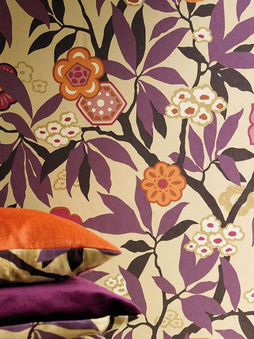 towa beige blasspurpurviolett cremeweiss orangebraun schwarzgrau florale tapeten. Black Bedroom Furniture Sets. Home Design Ideas