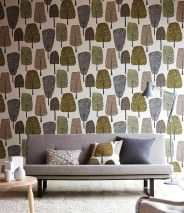 Wallpaper Davila Matt Trees Grey white Anthracite Beige red Yellow Grey beige Reed green