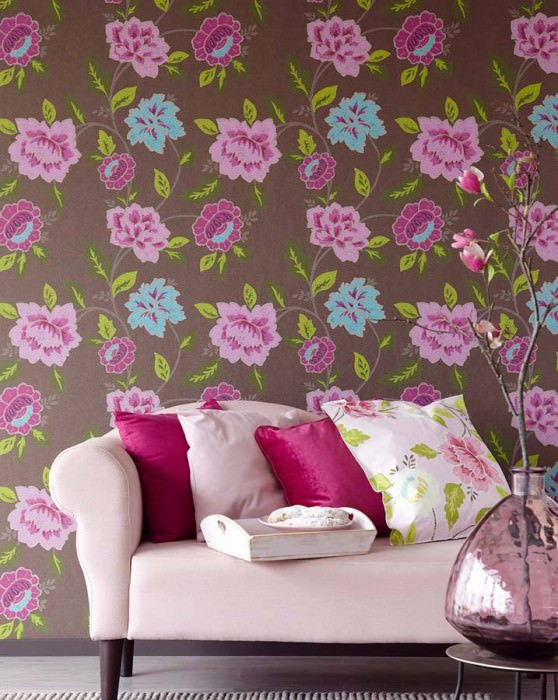 Wallpaper Forseti Hand printed look Matt Flowers Grey brown Green Pink Red violet Turquoise
