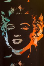 Wallpaper Andy Warhol - Marilyn Shiny pattern Matt base surface Marilyn Monroe Black Chrome lustre Pastel turquoise Rose Water blue metallic