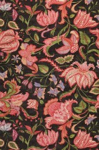 Wallpaper Gelava Matt Looks like textile Flower tendrils Indian Style Black grey Cream Strawberry red Pea green Violet