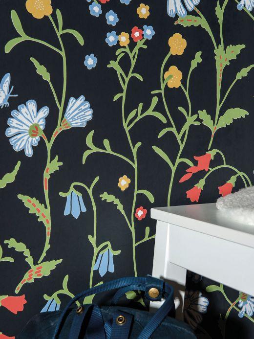 Papel pintado floral Papel pintado Eilis antracita Ver habitación