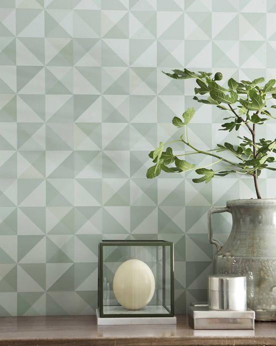 Archiv Wallpaper Pelias mint grey Room View