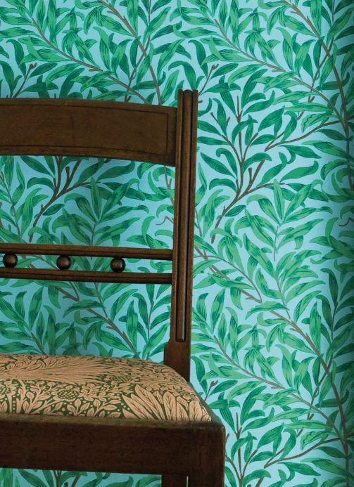 Papel pintado clásico Papel pintado Darcie verde amarillento Ver habitación