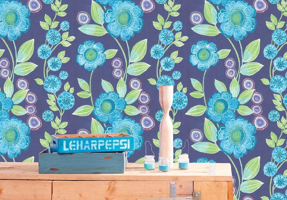 Wallpaper Esperanza Matt Flower tendrils Sapphire blue Yellow green Pastel blue Pastel violet