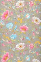 Wallpaper Luna Matt Flower tendrils Butterflies Cups Birds Beige grey Heather violet Yellow green Golden yellow Light blue