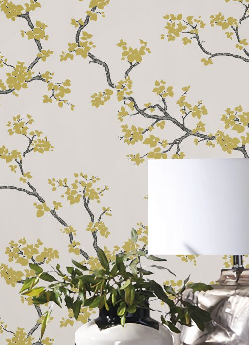 Oriental Wallpaper Wallpaper Sakura gold shimmer Room View