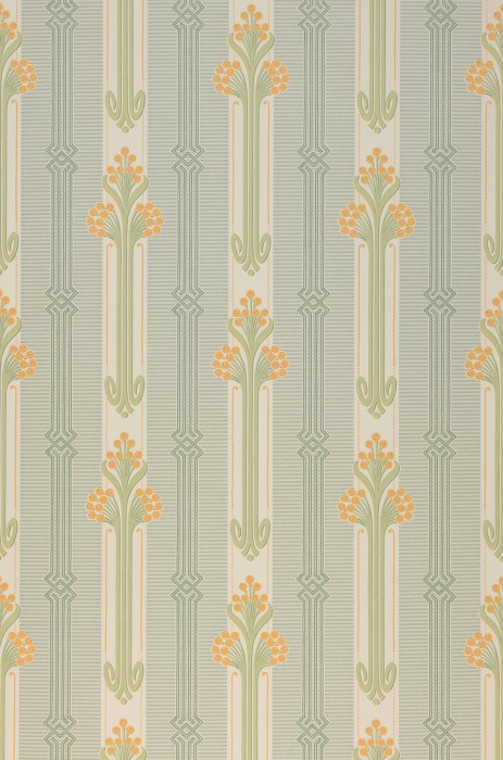 Wallpaper Midela Hand printed look Matt Floral Elements Graphic elements Art nouveau Stripes Cream Pale green Pine green Saffron yellow
