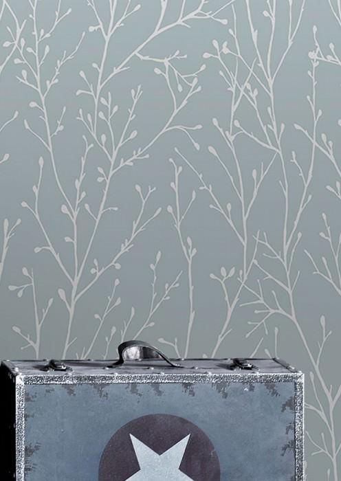 Papel pintado Nurija Mate Ramas Turquesa pastel Plata brillantina Blanco