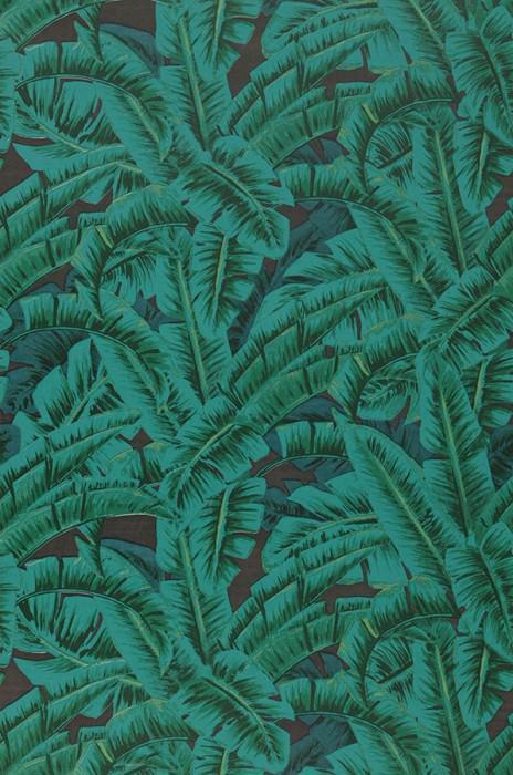 Wallpaper Flavia Matt Leaves Dark brown Shades of green