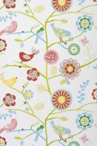 Wallpaper Milena Matt Birds Branches with leaves and blossoms White Brown red Yellow Light blue Light green Rose