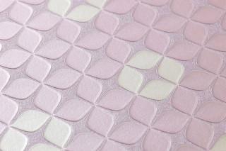 Papel de parede Korsal Brilhante Ornamentos pequenos Flores estilizadas Rosa claro pastel Branco creme