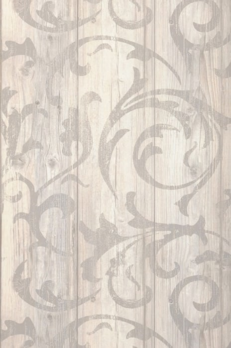 Wallpaper Medusa Wood Matt Old wooden boards Baroque damask Pale grey Grey white Light ivory Platinum grey