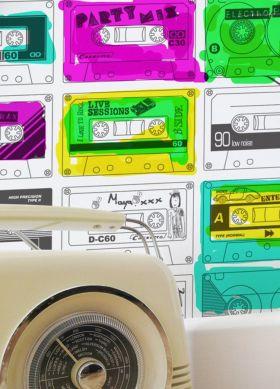 Papier peint Stereo Nostalgia blanc Vue pièce