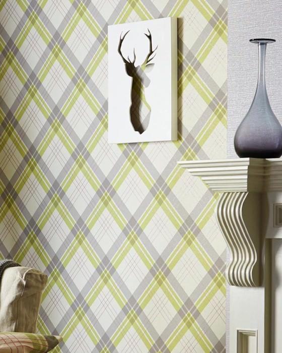 Wallpaper Arristo Matt Plaid Cream Light yellow green Light grey Pink shimmer