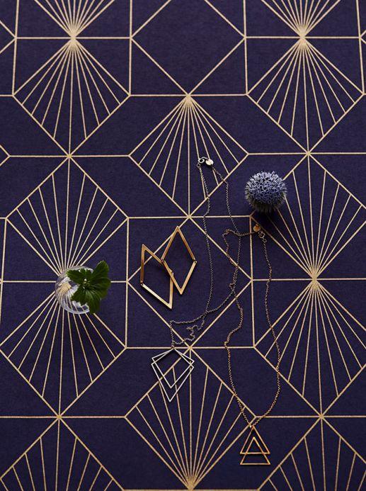 Papel pintado geométrico Papel pintado Maurus azul noche Ver habitación