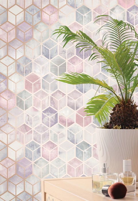 Wallpaper Casimir Shimmering pattern Matt base surface Graphic elements Pale blue Pale green Pale pink Pale violet Rosé shimmer