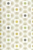 Papel de parede Brahma Mate Flores estilizadas Branco creme Verde amarelado Bege acinzentado Verde Cinza negrusco