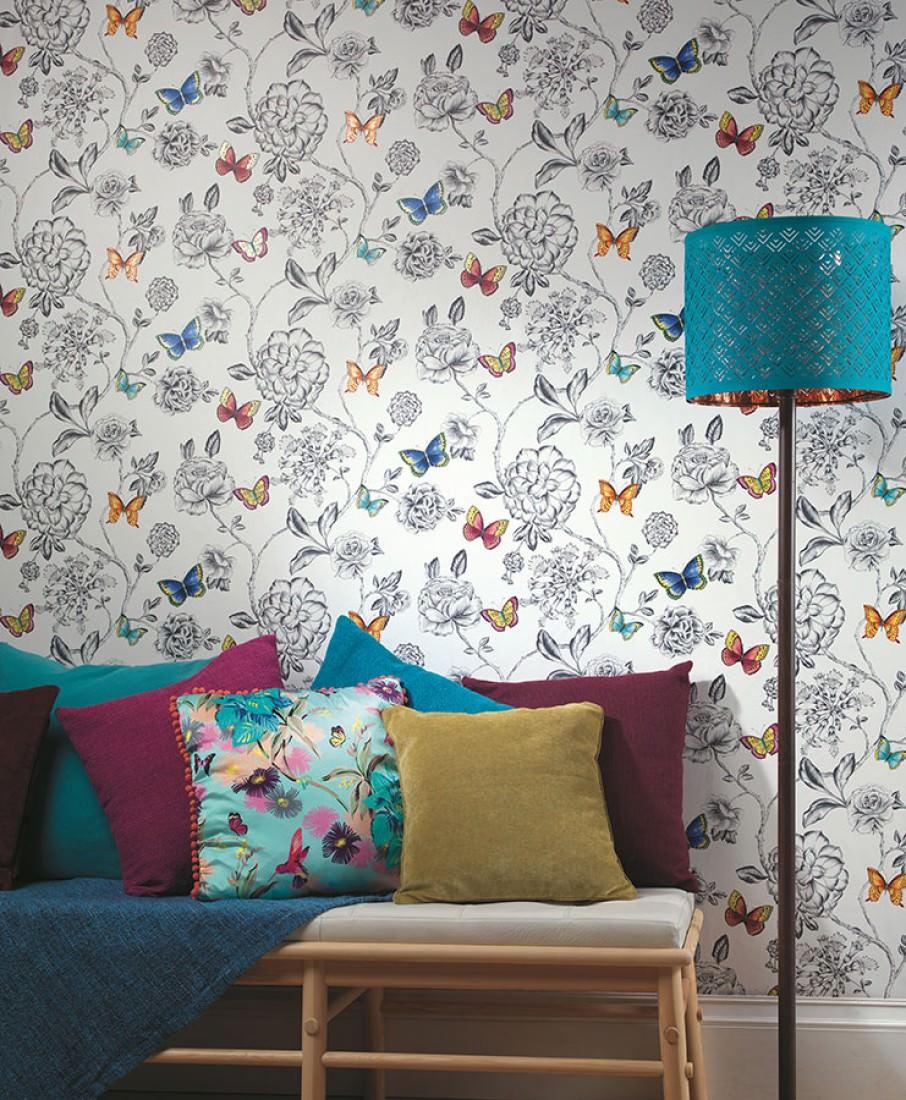 tapete cordula cremeweiss blau gelb rotorange schwarzgrau t rkis tapeten der 70er. Black Bedroom Furniture Sets. Home Design Ideas