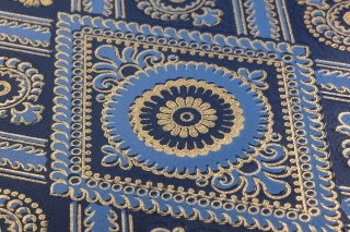 Carta da parati William Effetto stampato a mano Opaco Damasco storico Rombi Blu cobalto Blu brillante Oro brillante