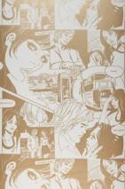 Carta da parati Comic Love Opaco Edifici Persone Parole Bianco crema Oro perlato
