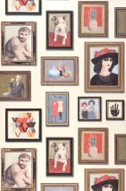 Wallpaper Silas Matt Picture frames People Cream pearl lustre Brown Grey blue Khaki grey Red