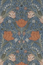 Wallpaper Anita Matt Leaves Flower tendrils Pigeon blue Beige red Grey blue Grey olive Grey white Olive grey