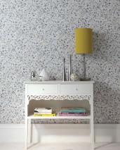 Papel de parede Cherry Blossoms Mate Flores Cinza claro Tons de cinza Branco Amarelo limão
