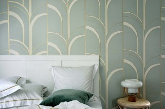 Wallpaper Arches Matt Art Deco Bends Cream Gold shimmer Light mint turquoise