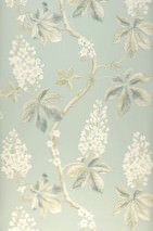 Wallpaper Hera Matt Chestnuts Branches with leaves and blossoms Light pastel green Pale brown Blue Green Cream Green beige