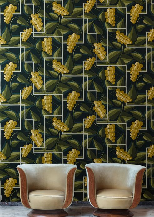 Classic Wallpaper Wallpaper Genevieve curry yellow Room View