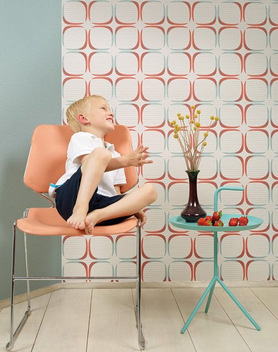 Wallpaper Holani Matt Retro squares Cream Light grey beige Pale turquoise Coral red