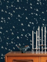 Wallpaper Hermine Shimmering pattern Matt base surface Stars Birds Grey blue Silver shimmer