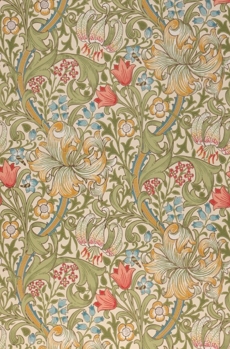 Wallpaper Wispa Hand printed look Matt Leaf tendrils Flower tendrils Lilies Cream Maize yellow Orient red Pastel turquoise Reed green White