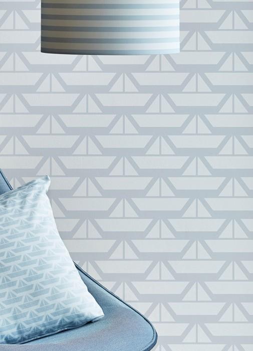 Wallpaper Limba Matt Ships Pale blue Cream