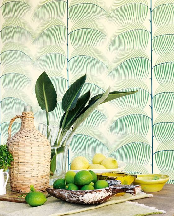 Botanical Wallpaper Wallpaper Silvana emerald green Room View