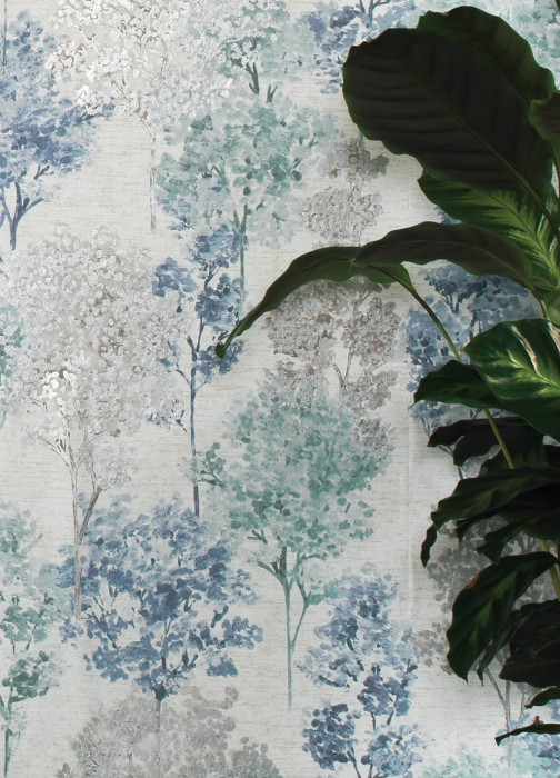 Wallpaper Namika Matt Trees Cream Mint turquoise Silver shimmer Pigeon blue