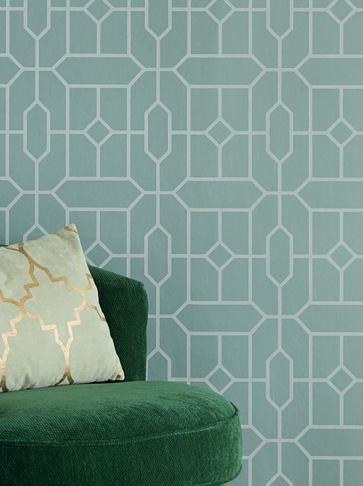 Wallpaper Worana Matt pattern Shimmering base surface Geometrical elements Hexagons Rhombuses Light mint-turquoise shimmer Green white