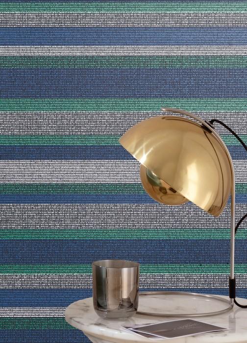 Wallpaper Tekin Matt Stripes Black Pearl green Violet blue White