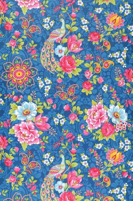 Papier peint floral Papier peint Ludmilla bleu Largeur de lé