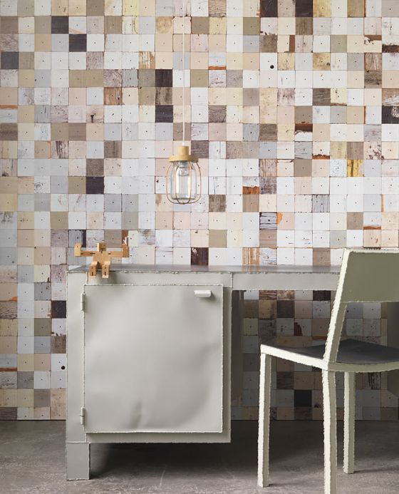 NLXL Wallpaper Wallpaper Scrapwood 16 light beige Room View