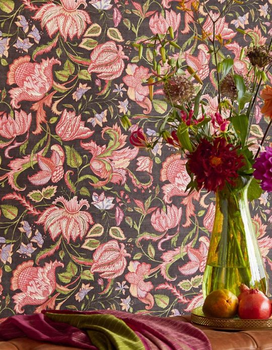 Floral wallpaper Wallpaper Gelava pea green Room View