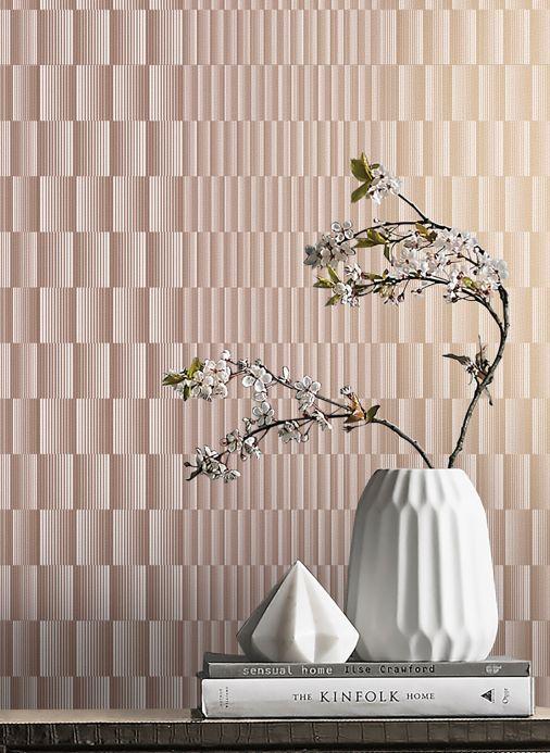 Matériaux Papier peint Serika chatoiement or rose Vue pièce