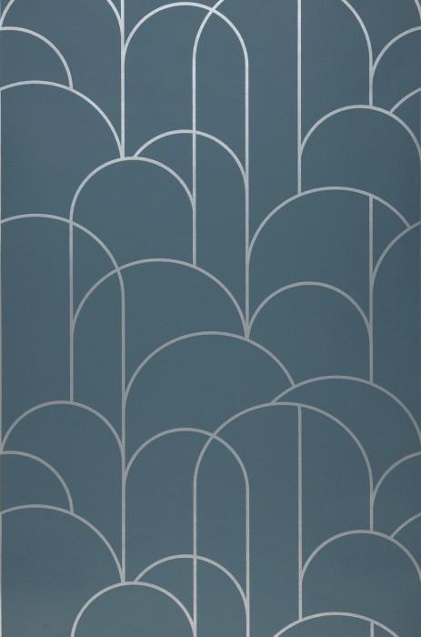 Papel pintado Zania Patrón brillante Superficie base mate Art Deco Curvas Gris azulado Aluminio blanco